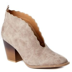 Make An Impression Taupe Ankle Booties